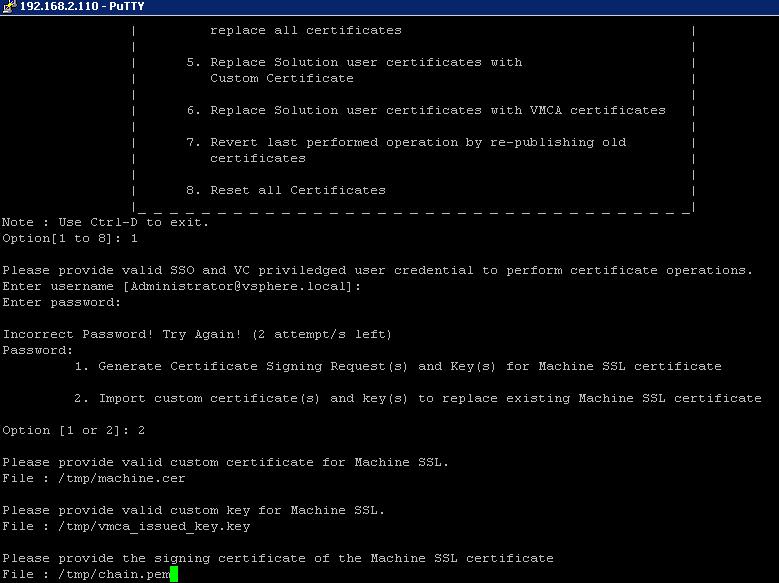 Replacing the custom certificates on vCenter server